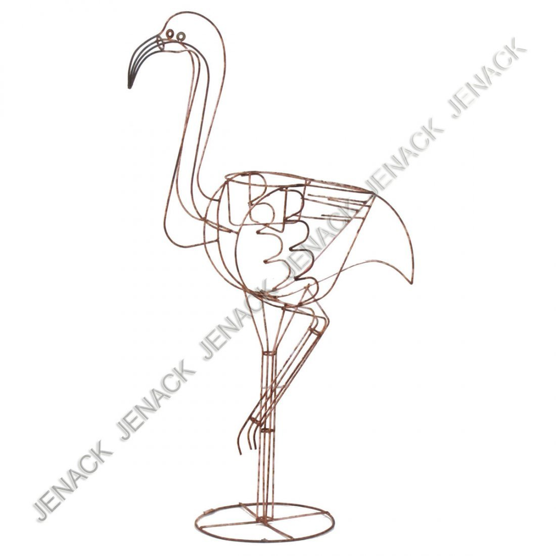 3: WROUGHT IRON FLAMINGO PLANTER.