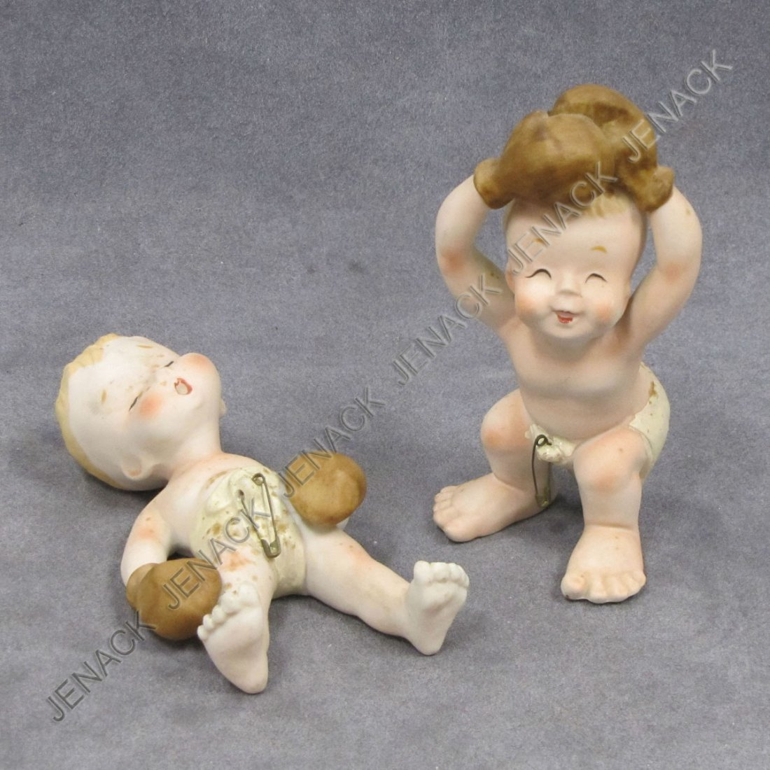 6: LOT (2) JAPANESE BISQUE BOXING BABIES