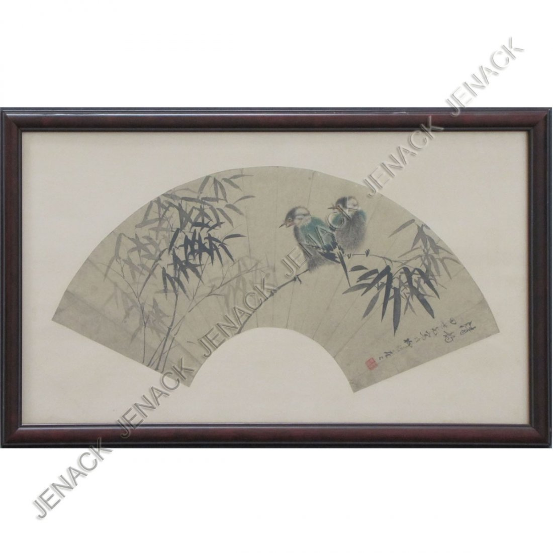 12: CHINESE INK/WASH FAN PAINTING, SIGNED