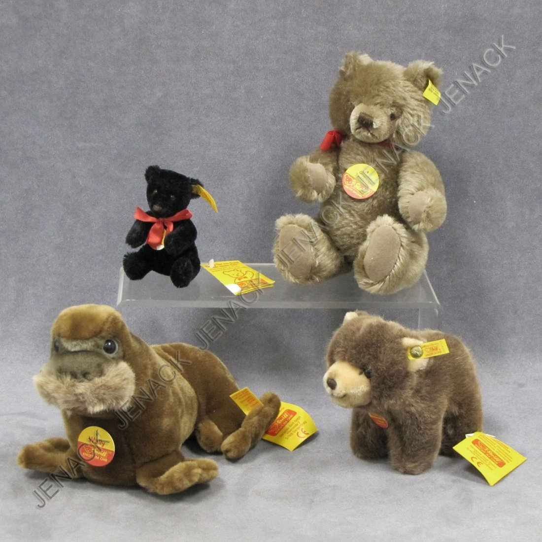 13: LOT (4) STEIFF ANIMALS INCLUDING ORIGINAL BEAR
