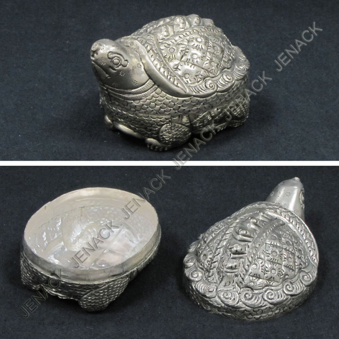 18: CAMBODIAN SILVER TURTLE-FORM BOX, MARKED 90%