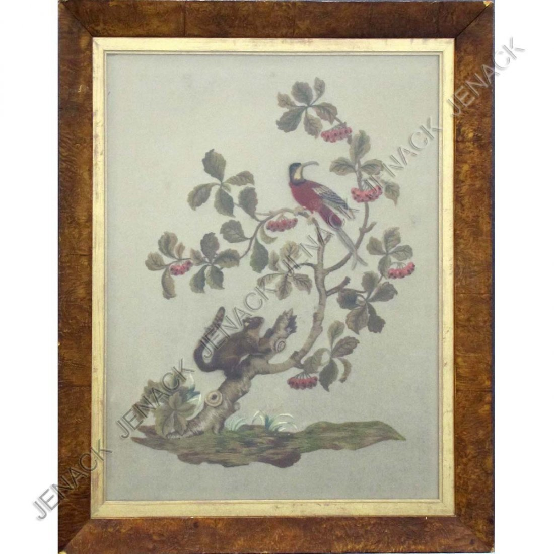 20: VINTAGE WOOL EMBROIDERY AND STUMP WORK PANEL,19THC