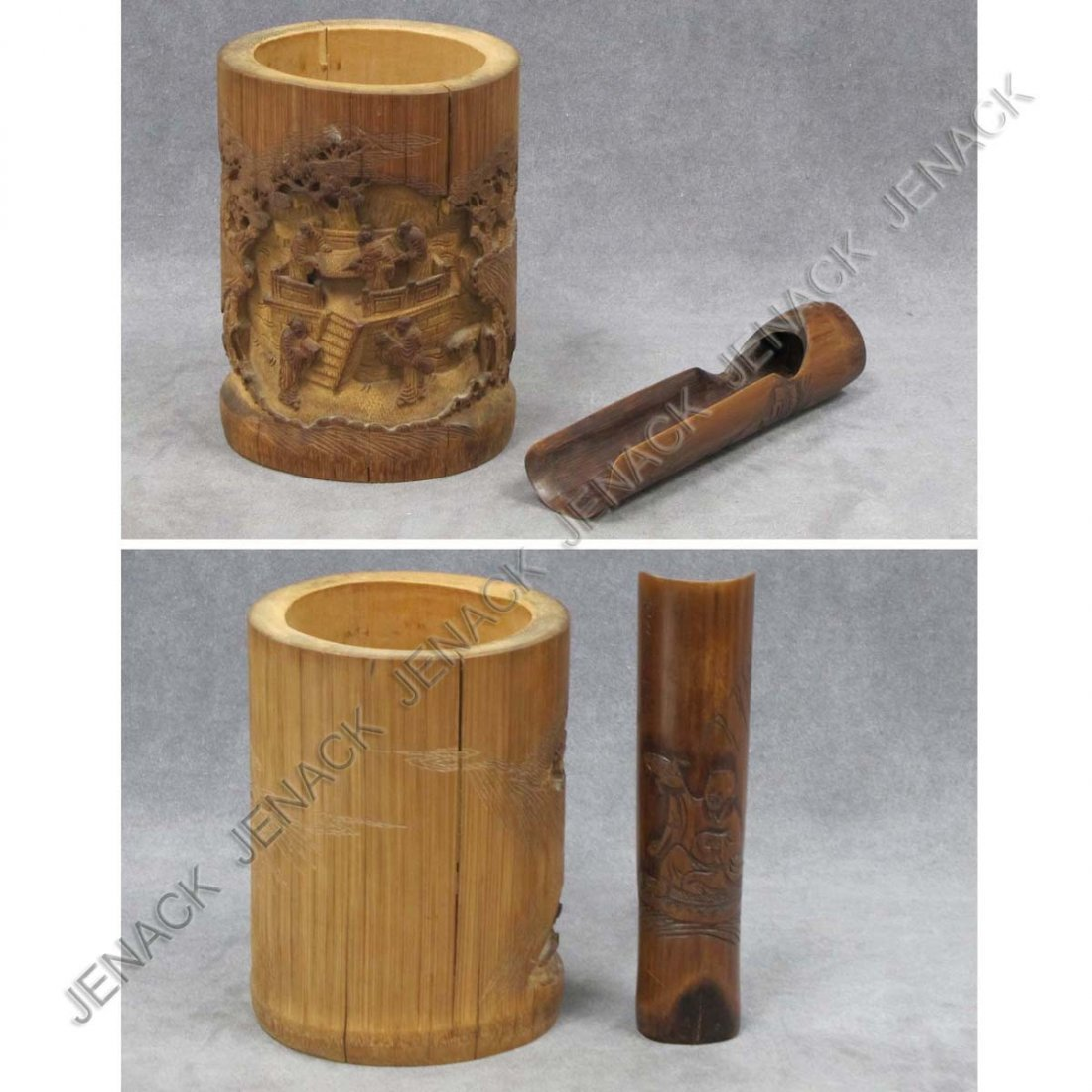21: LOT (2) CHINESE CARVED BAMBOO INCLUDING BRUSH POT