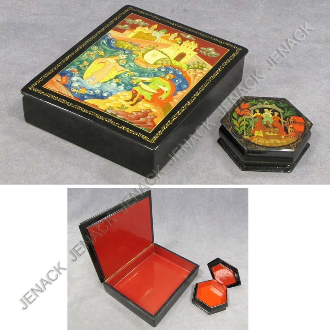 2: LOT (2) RUSSIAN DECORATED LACQUER BOXES