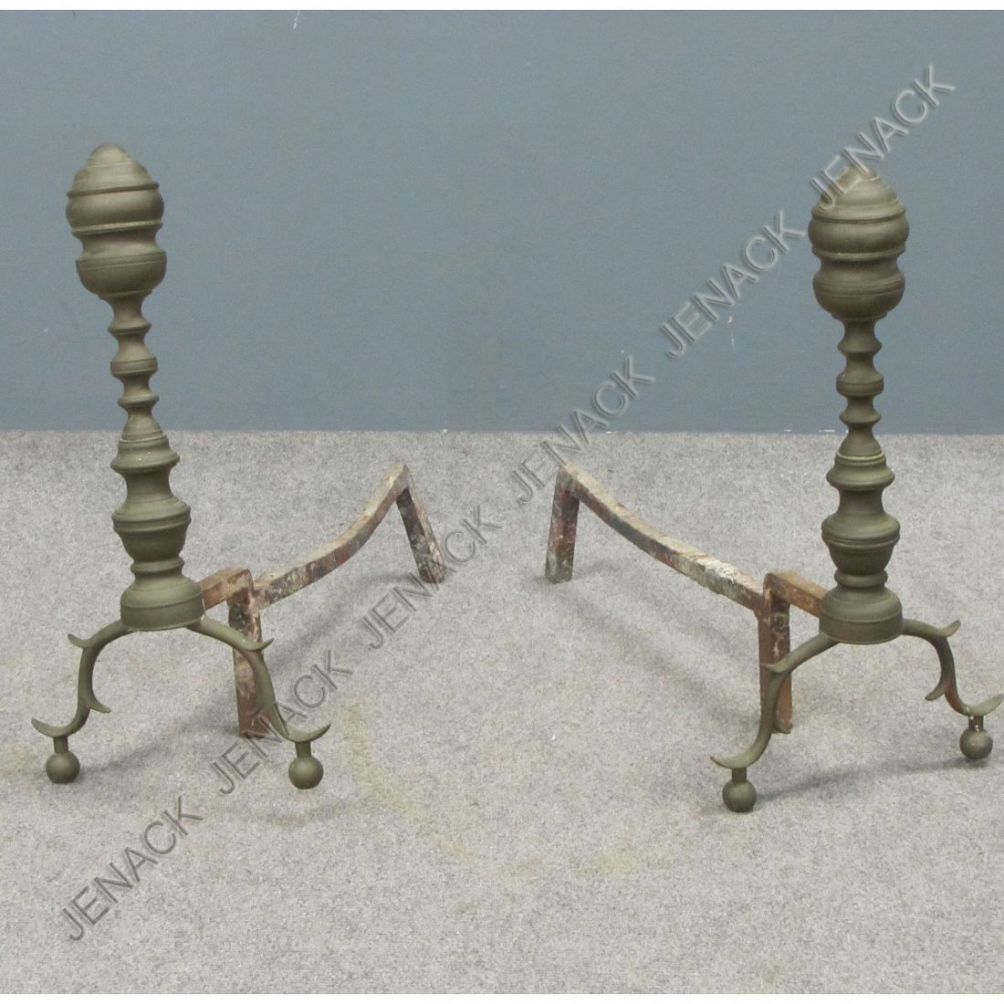3: PAIR CHIPPENDALE BRASS ANDIRONS