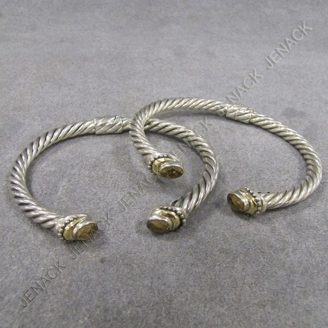 5: PAIR STERLING AND 18K HINGED CUFF BRACELETS