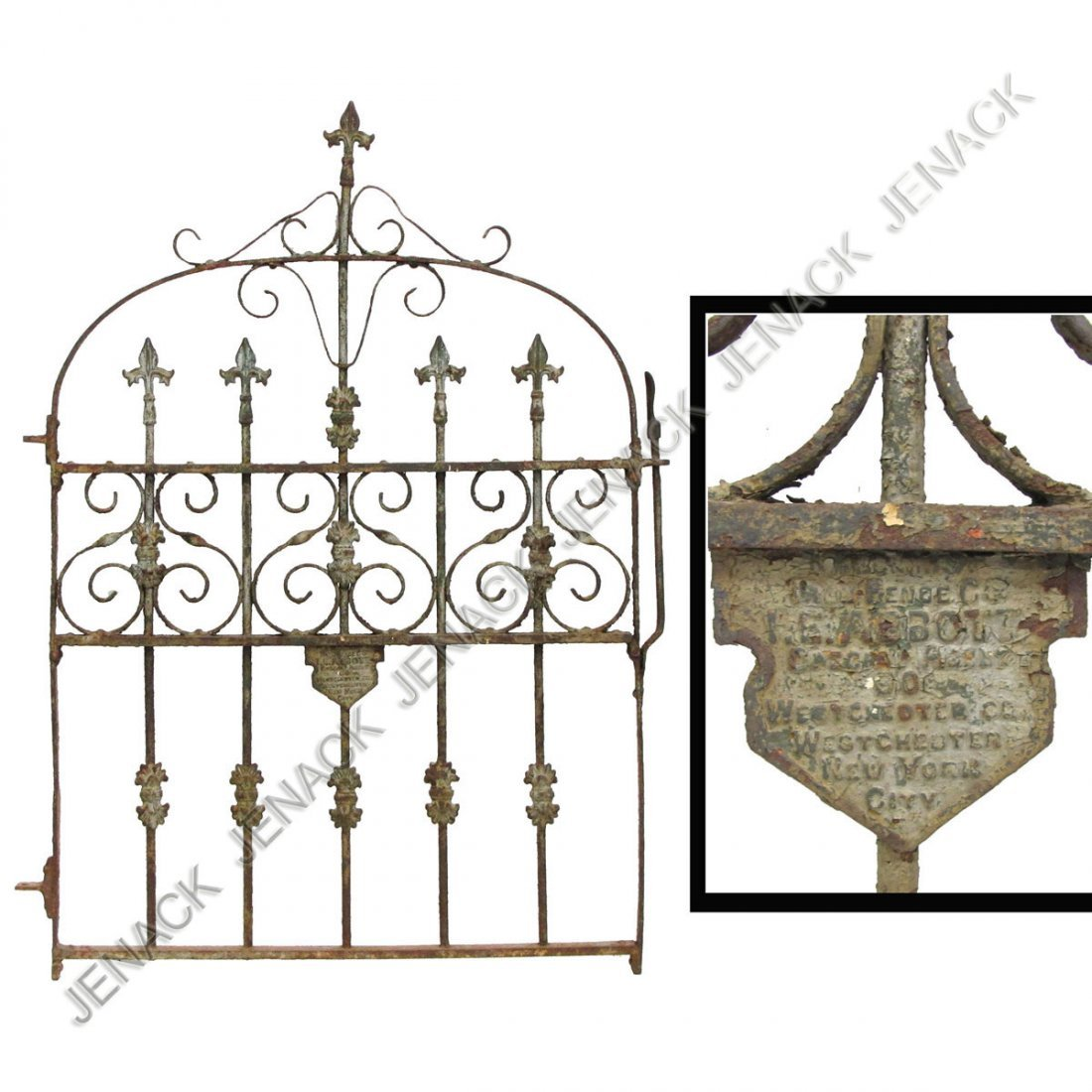 7: VICTORIAN WROUGHT IRON GATE, SIGNED I.E. ABBOT