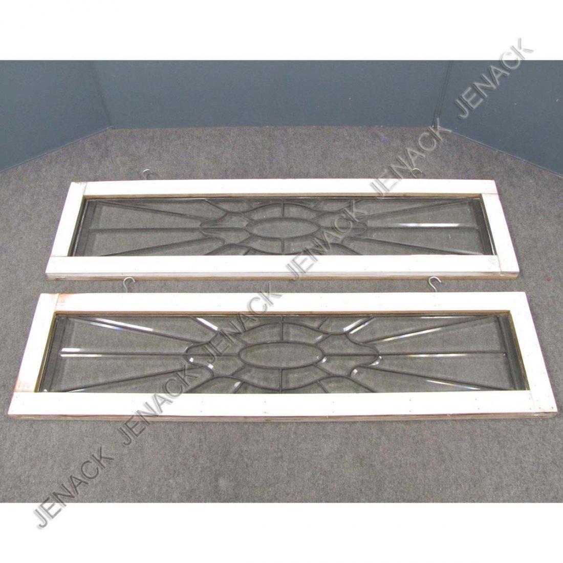 11: PAIR VINTAGE LEADED GLASS TRANSOM WINDOWS