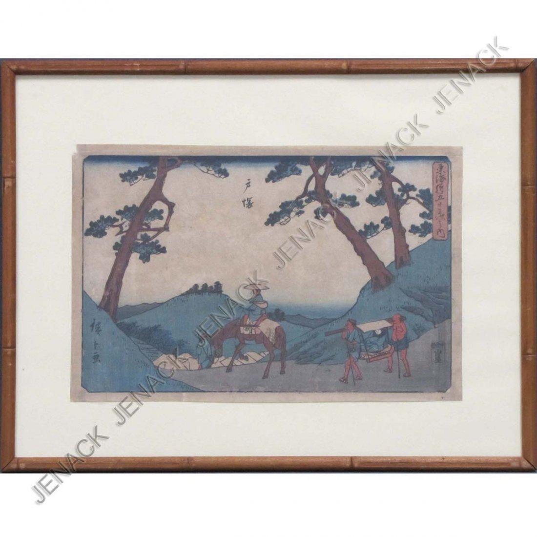 12: ANDO HIROSHIGE (JAPAN 1797-1858), WOODBLOCK PRINT