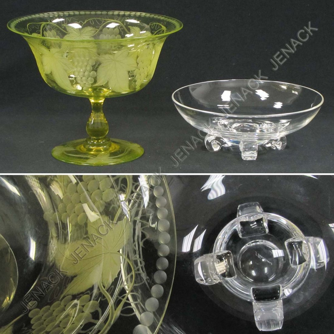 45: LOT (2) INCLUDING STEUBEN CRYSTAL FOOTED BOWL