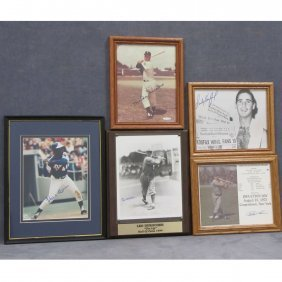 LOT (5) VINTAGE AUTOGRAPHED BASEBALL PHOTOGRAPHS