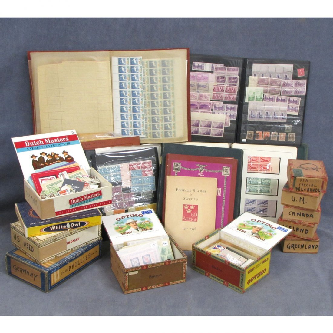 57: LOT U.S. AND WORLDWIDE STAMPS INCLUDING CIGAR BOXE