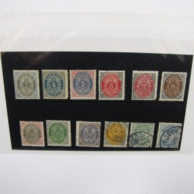 POSTAGE STAMP-DENMARK, SCOTT CATALOG #25-33