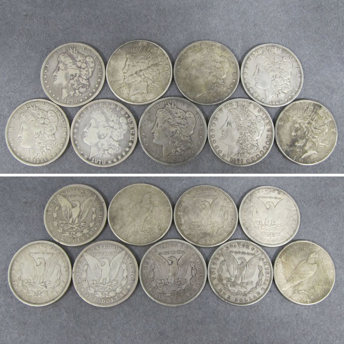 72: LOT (9) ASSORTED MORGAN AND PEACE SILVER DOLLARS