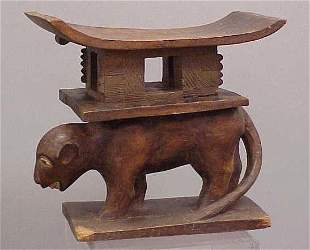 AFRICAN CARVED ANIMAL TRIBAL SEAT