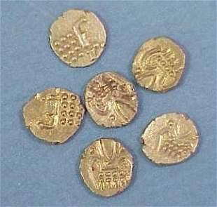 LOT (6) INDIAN GOLD FANAM