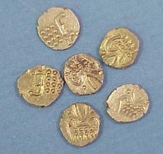 25: LOT (6) INDIAN GOLD FANAM