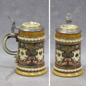 1: METTLACH #1395 PLAYING CARD 1/2 L STEIN