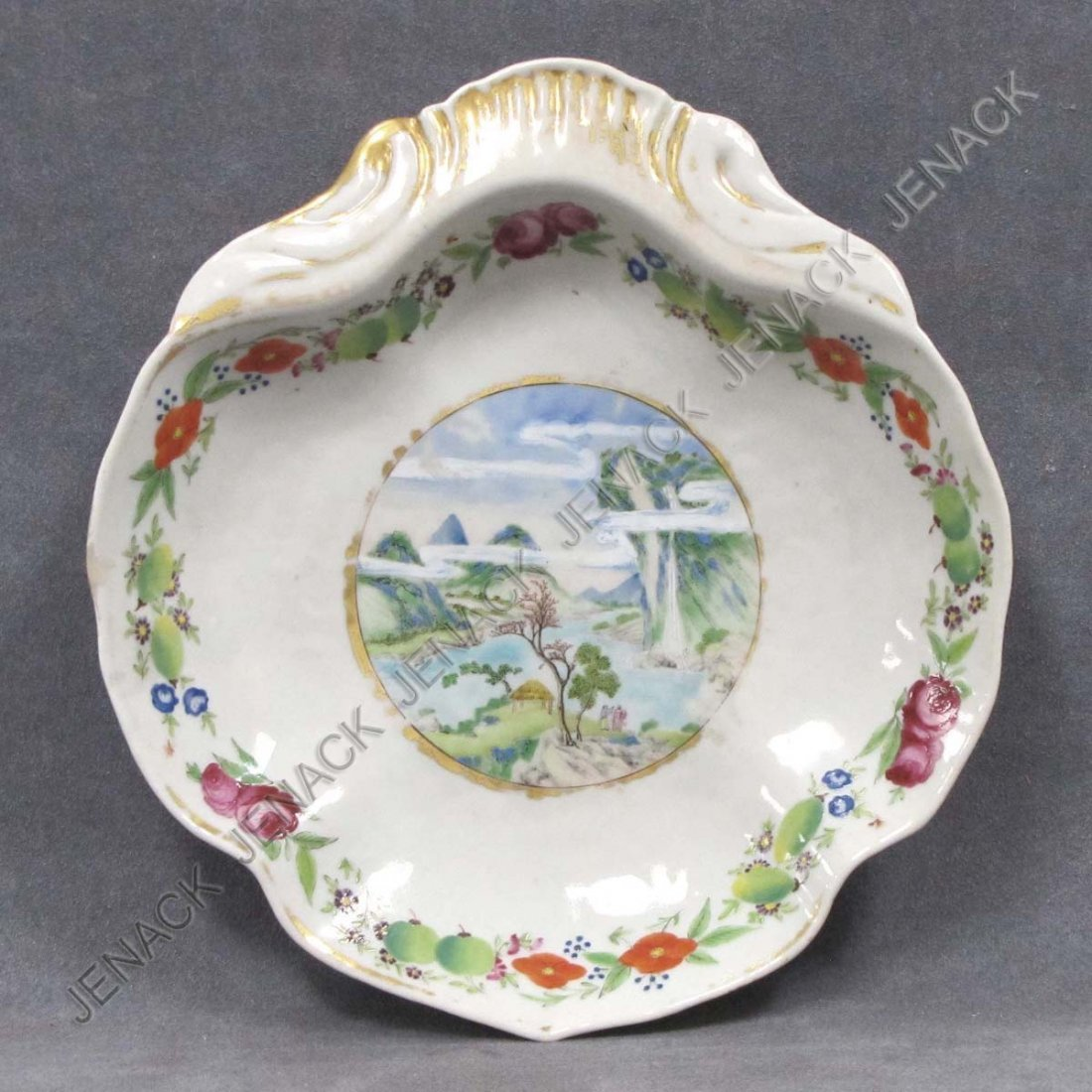 2: CHINESE EXPORT DECORATED PORCELAIN SHAPED DISH
