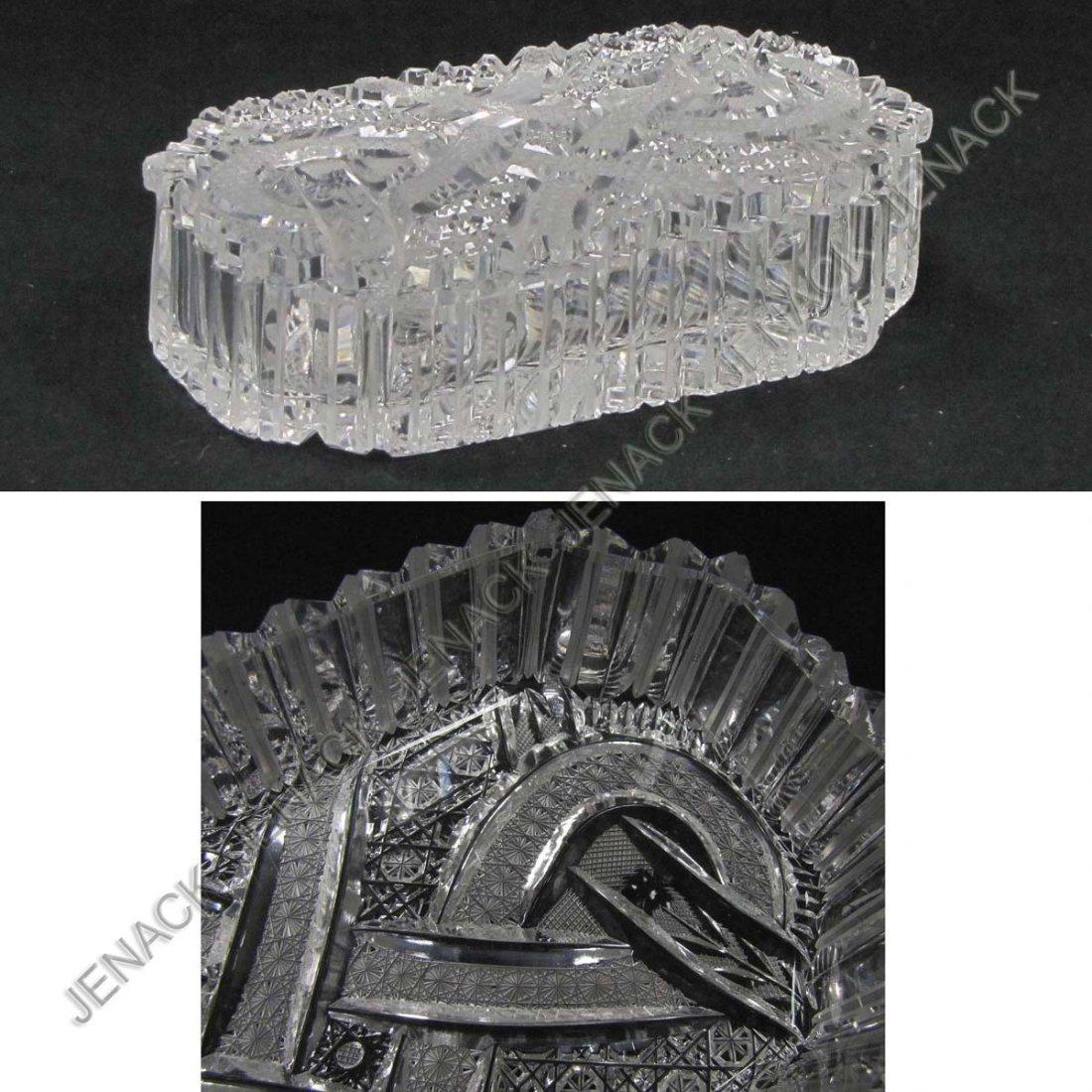 6: FINE AMERICAN BRILLIANT CUT GLASS COVERED BOX