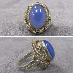 800 SILVER AND CHALCEDONY RING, SIGNED ITALY