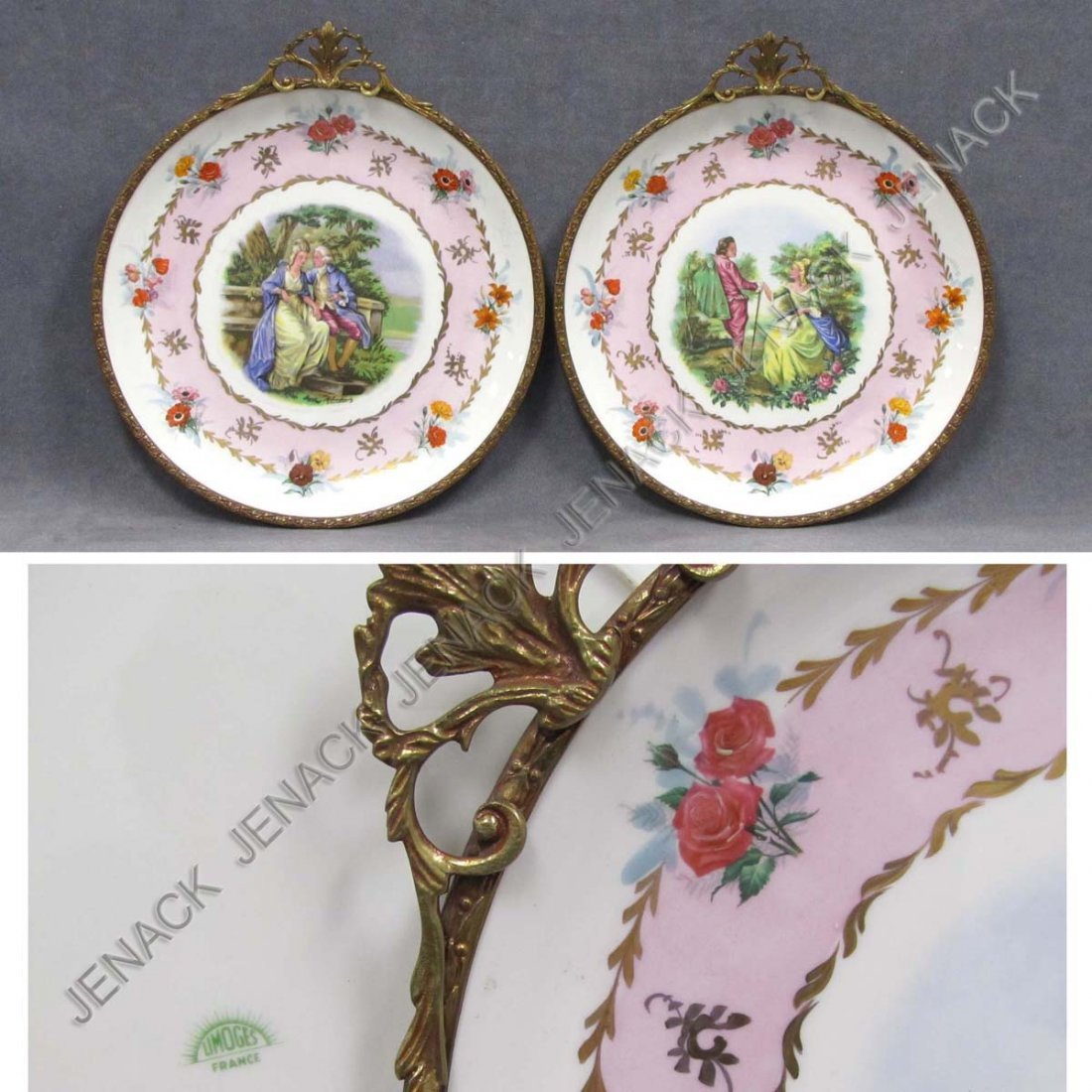 18: PAIR LIMOGES DECORATED PORCELAIN CHARGERS