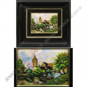 20: LIMOGES COPPER ENAMEL PLAQUE, VILLAGE SCENE
