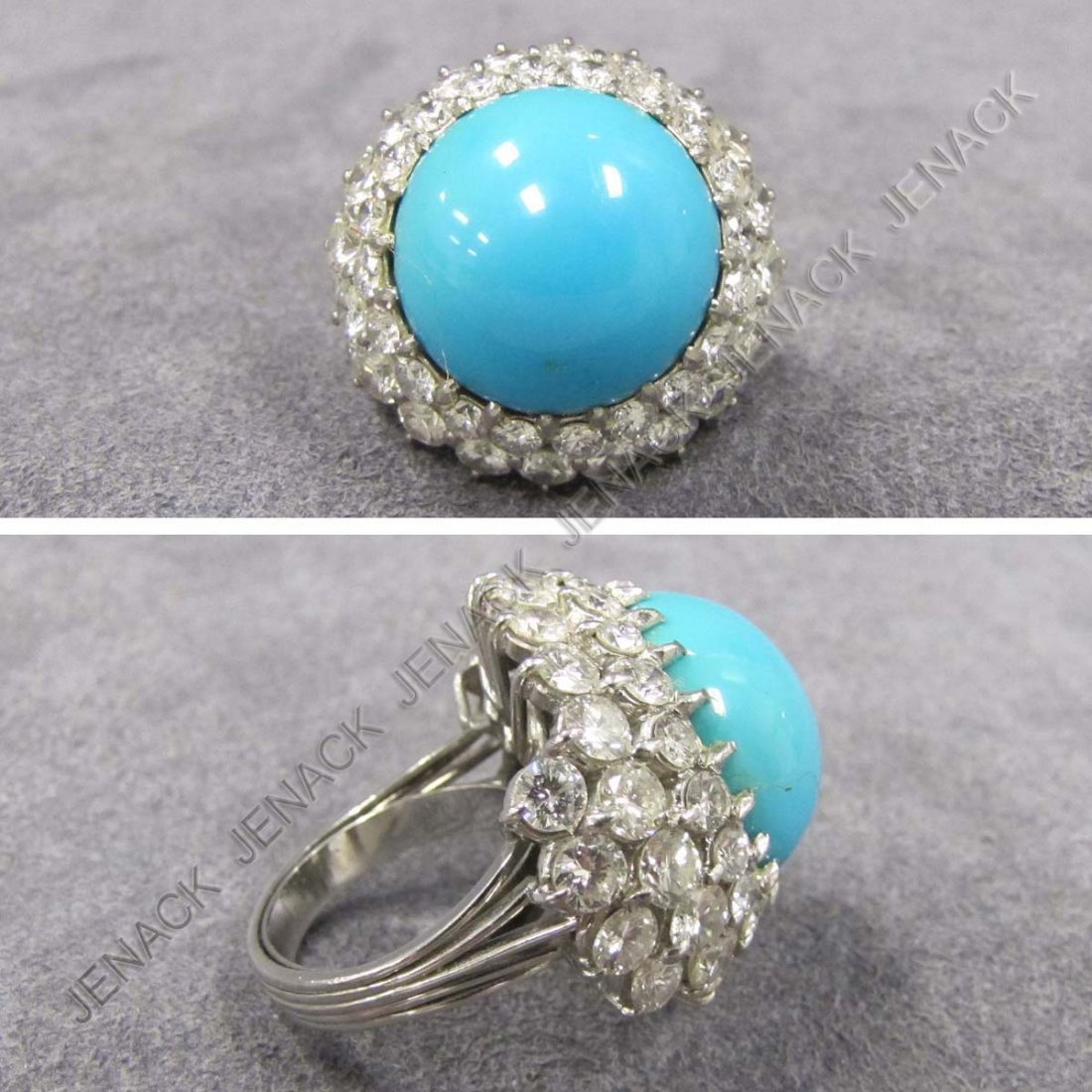 116: WHITE GOLD (TESTS 18K) TURQUOISE AND DIAMOND RING