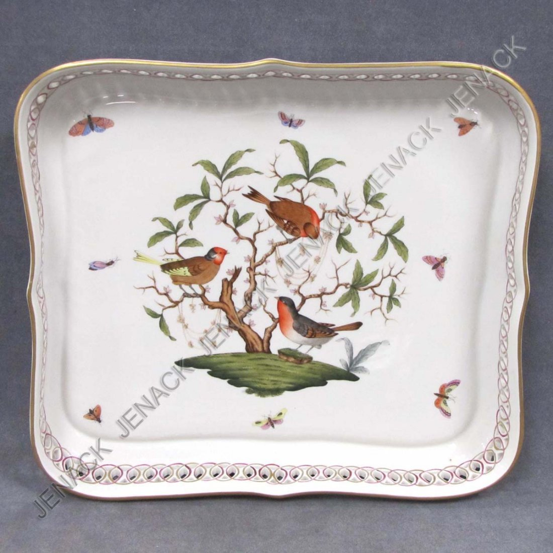 "230: HEREND ""ROTHCHILD BIRD"" DECORATED PORCELAIN TRAY"