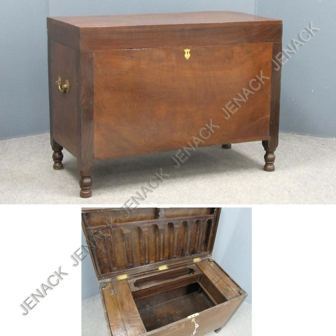 23: ANGLO-INDIAN CARVED MAHOGANY/TEAK CAMPAIGN TRUNK