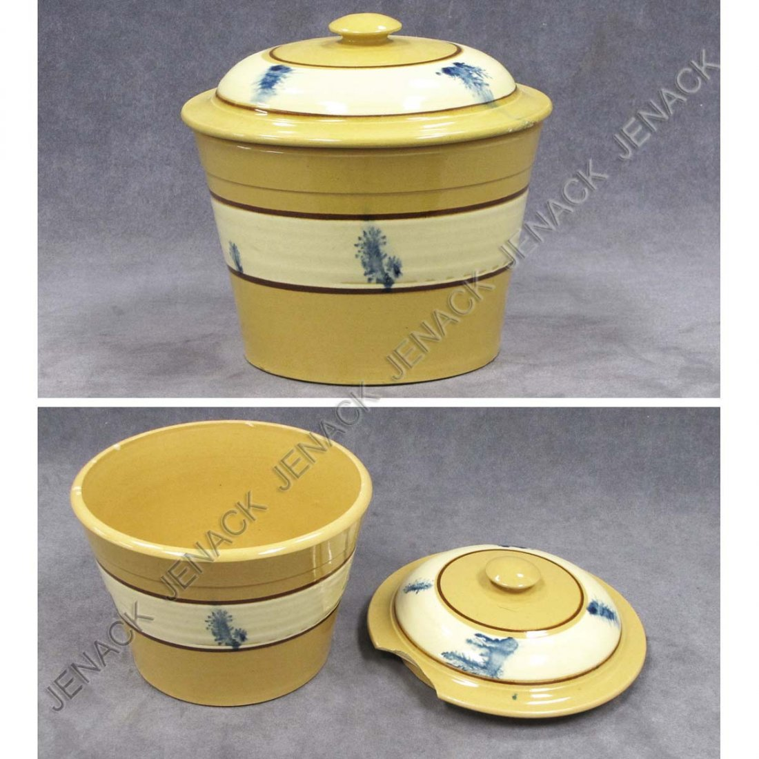 6: MOCHA DECORATED YELLOWARE BANDED COVERED BOWL