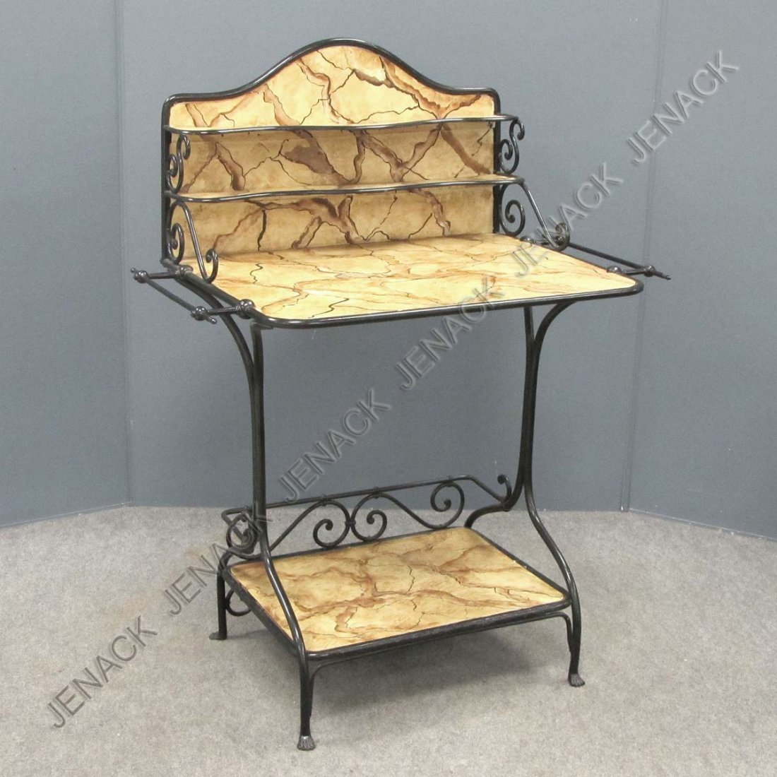 23: VICTORIAN WROUGHT IRON WASHSTAND WITH FAUX MARBLE