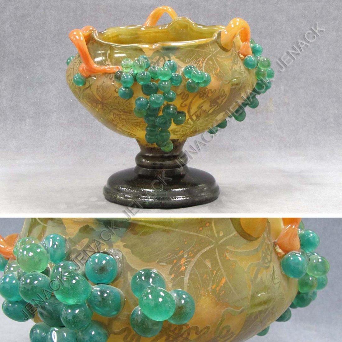 296: DAUM NANCY CAMEO AND APPLIED GLASS CENTER BOWL