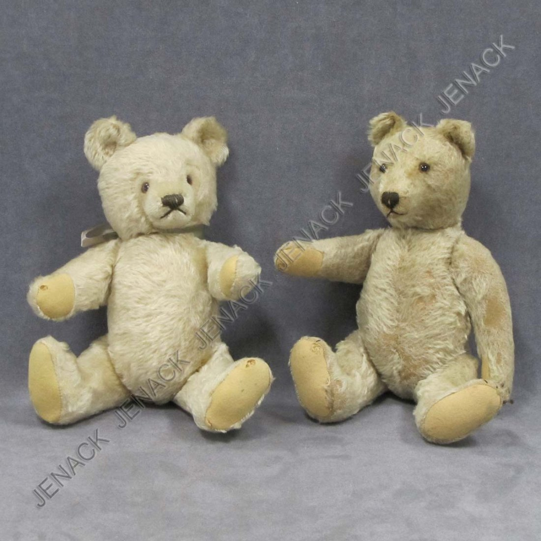 3: LOT (2) VINTAGE TEDDY BEARS WITH GLASS EYES