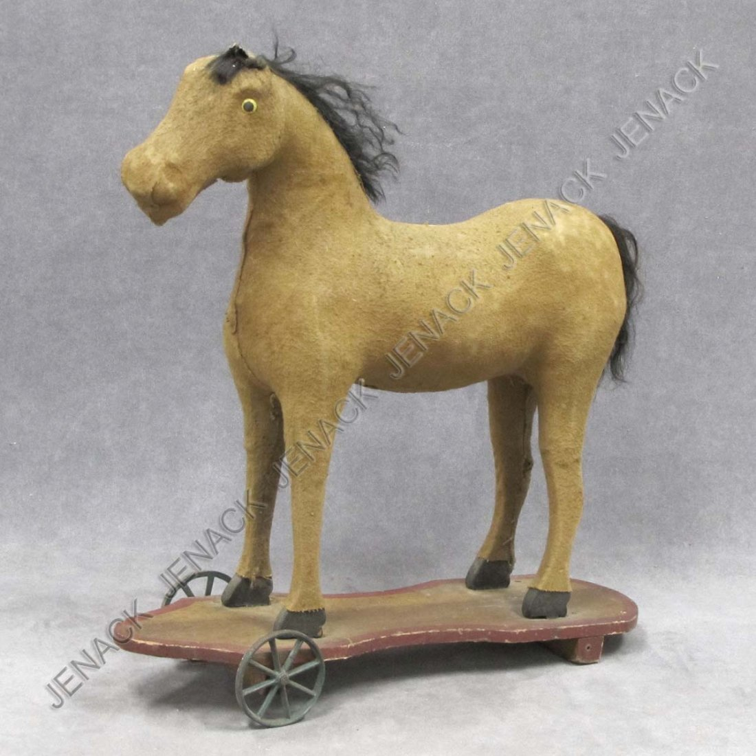 6: VINTAGE FELT COVERED CHILD'S HORSE PULL TOY