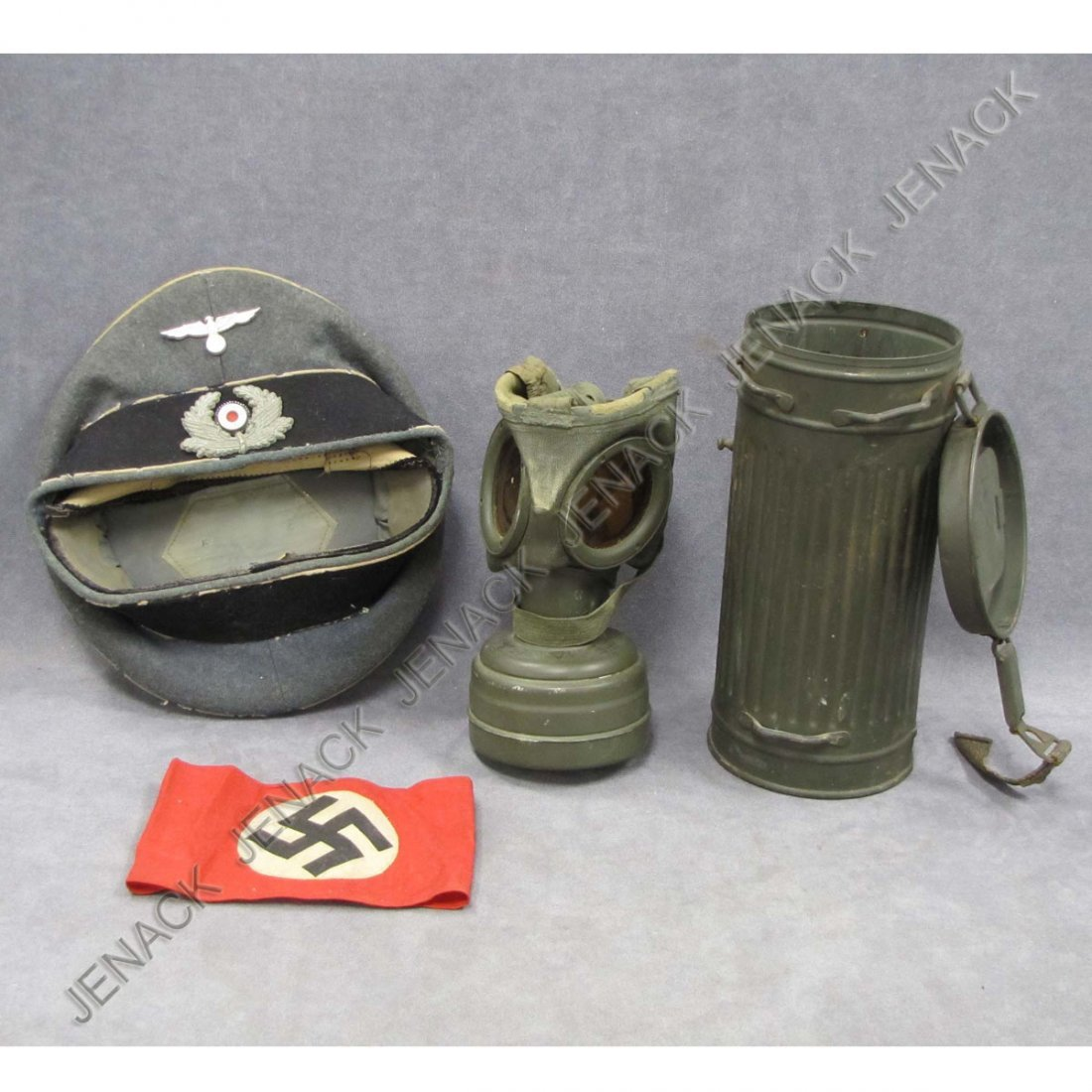 13: GERMAN WWII LOT (3) INCLUDING CANISTER GAS MASK