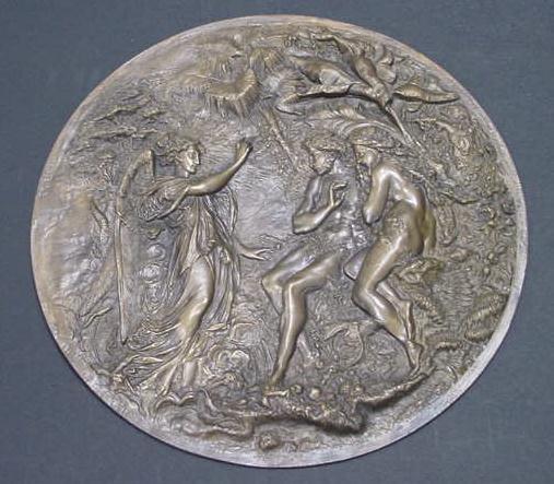 1: BRONZE ROUNDEL, ADAM AND EVE, 19THC