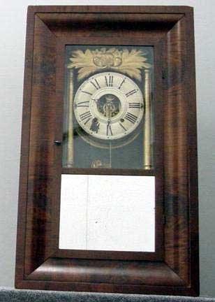 7: HILLS, GOODRICH & CO., MAHOGANY CLOCK