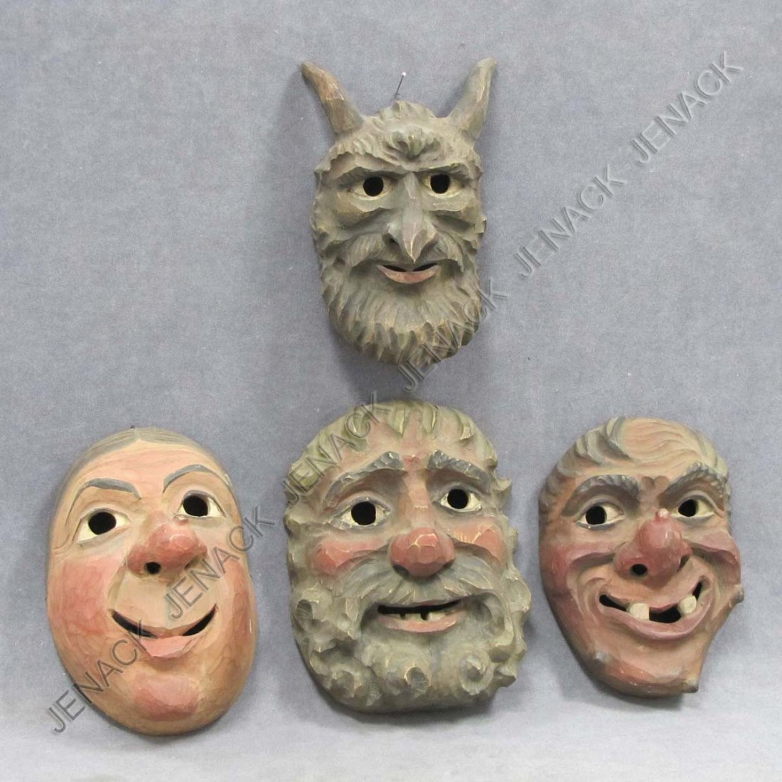 2: LOT (4) CONTINENTAL CARVED AND PAINTED MASKS