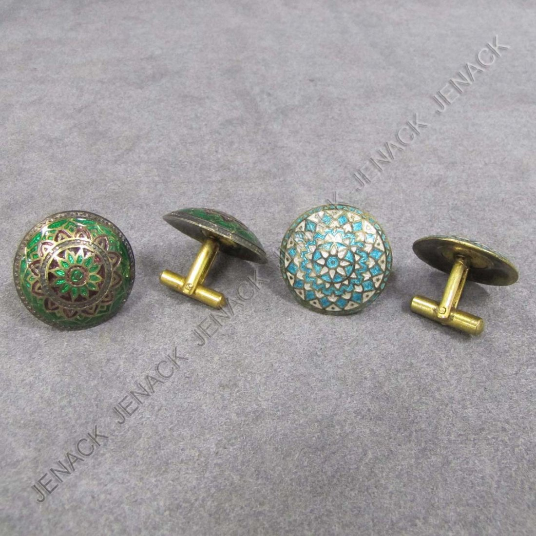 12: LOT (2) PAIR GILT SILVER ENAMELED CUFFLINKS
