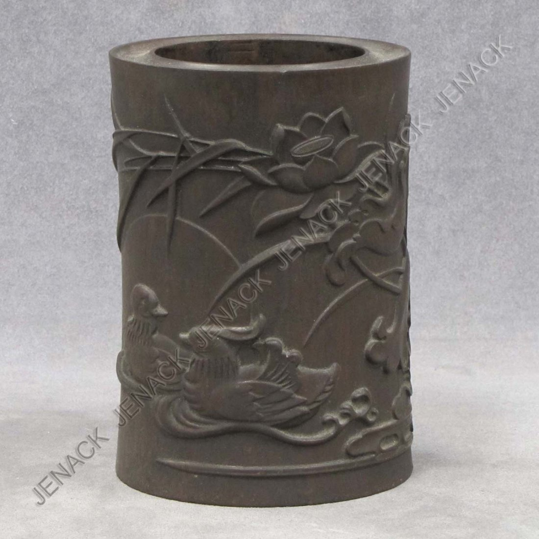14: CHINESE CARVED HARDWOOD BRUSH POT