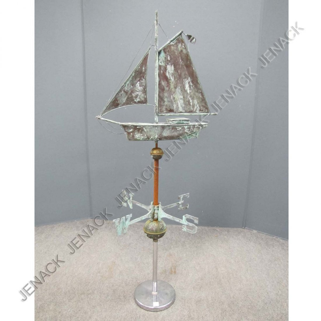 15: COPPER SAILBOAT WEATHERVANE WITH DIRECTIONALS