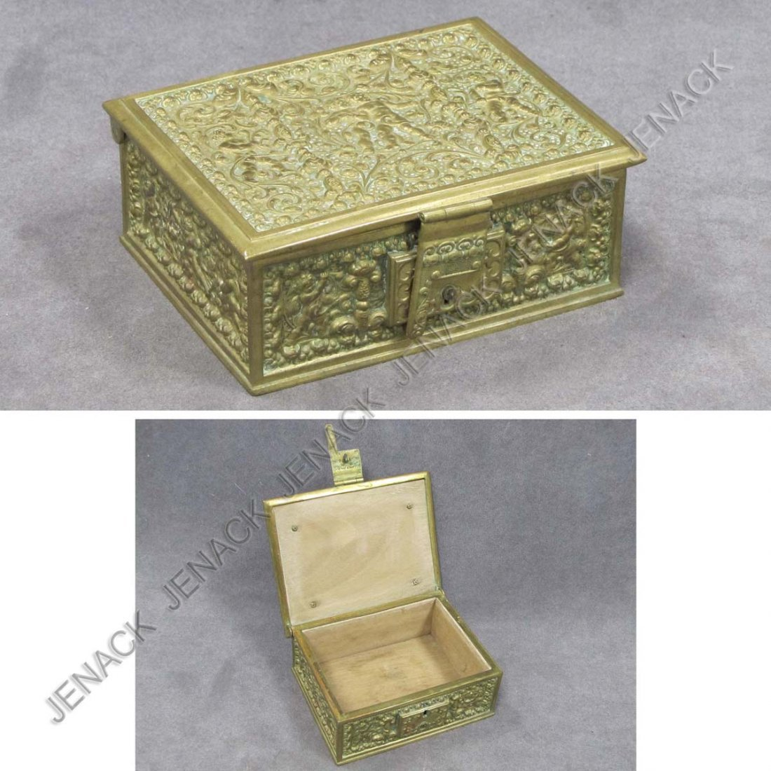 22: RENAISSANCE REVIVAL BRASS COVERED BOX WITH LOCK
