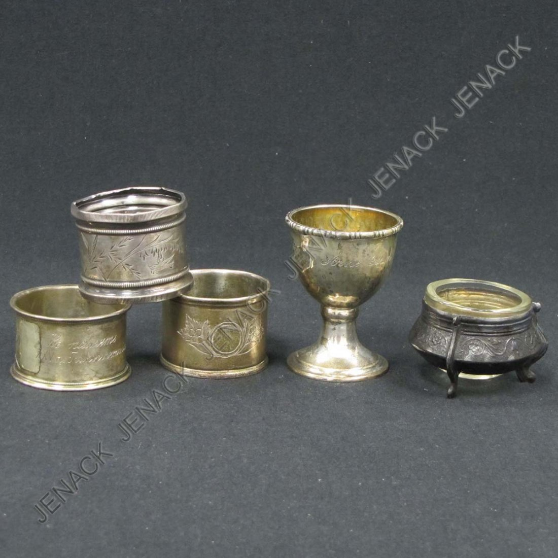 24: LOT (5) SILVER INCLUDING GILT SILVER EGG CUP