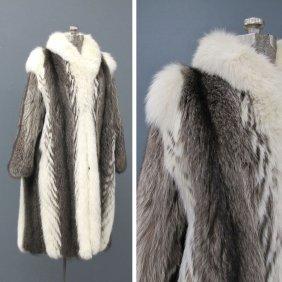 3: VINTAGE WHITE FOX/RACCOON FULL LENGTH LADY'S COAT