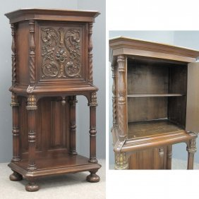 19: RENAISSANCE REVIVAL STYLE CARVED COURT CUPBOARD
