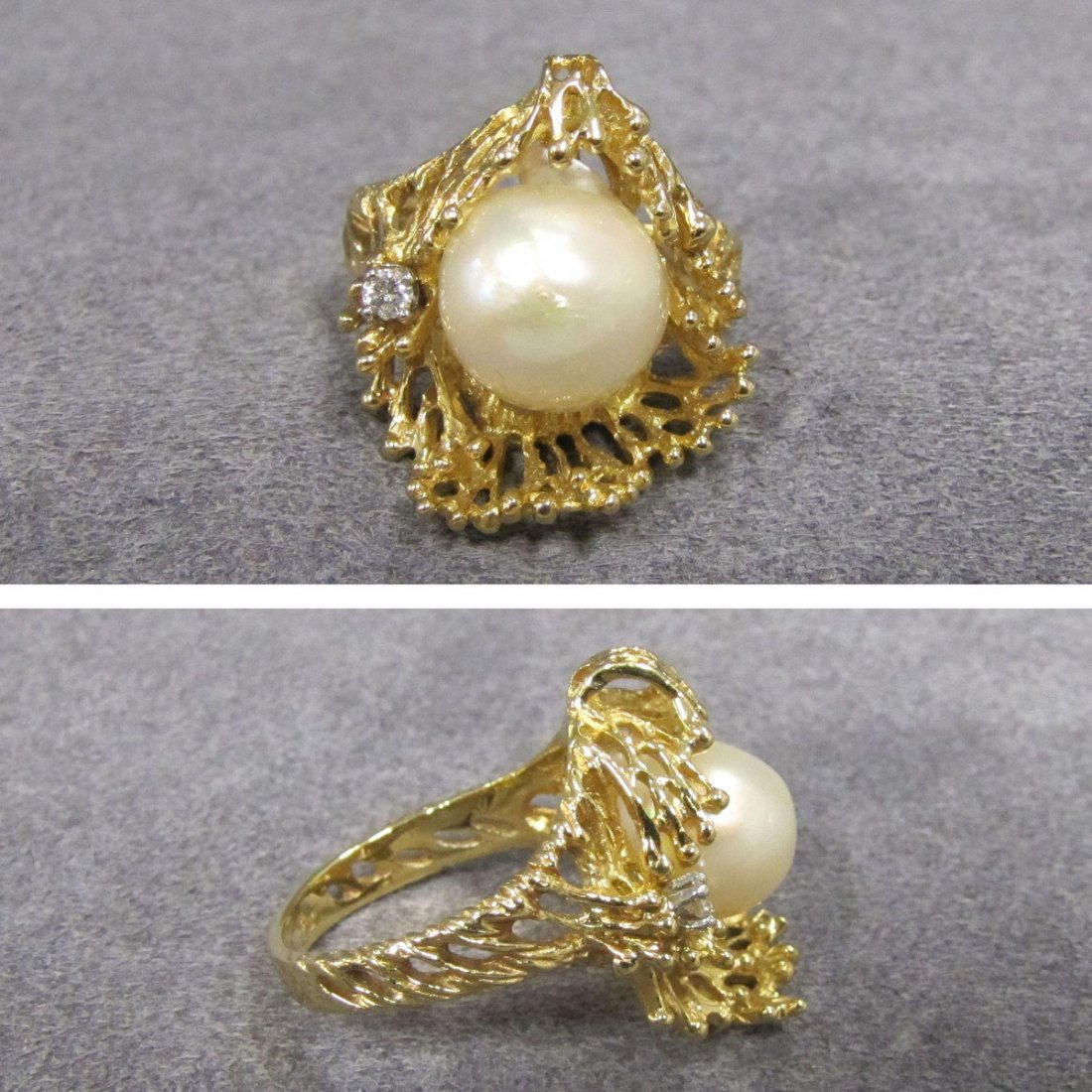 14K YELLOW GOLD RING SET WITH 9.32 BLISTER PEARL