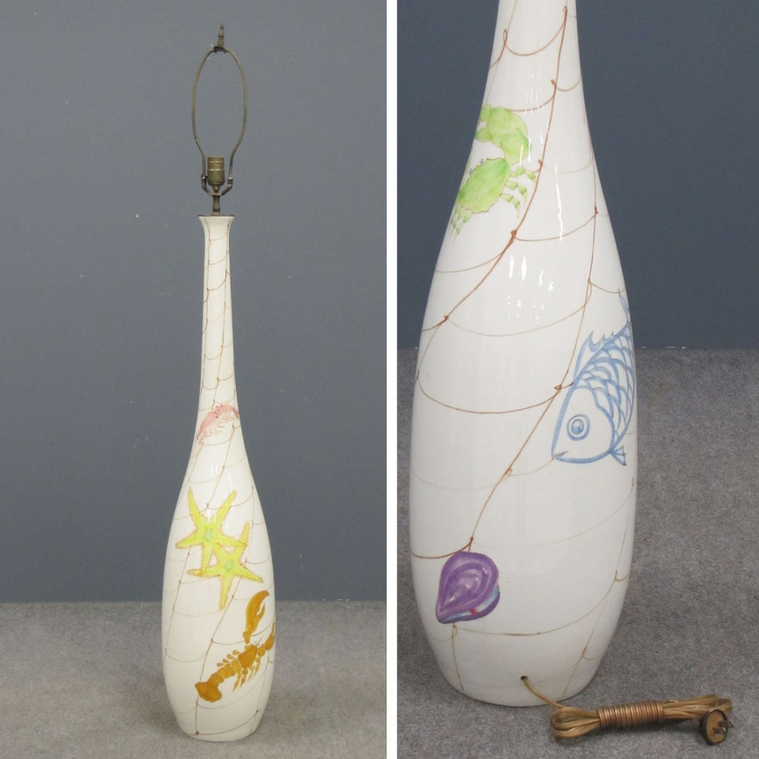 ERNESTINE OF SALERNS, DECORATED PORCELAIN LAMP