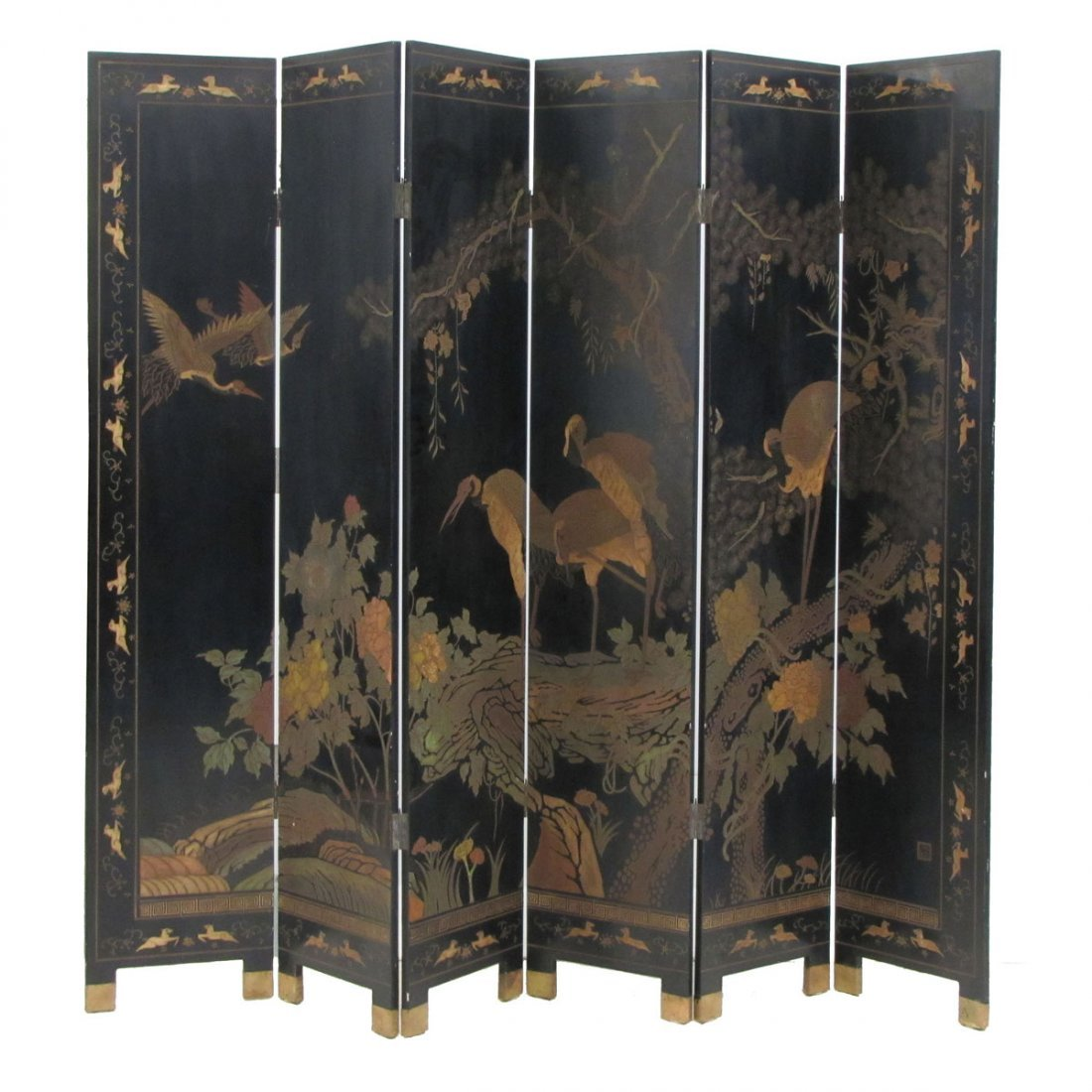 CHINESE CARVED AND PAINTED 6-PANEL SCREEN