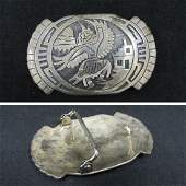 SW AMERICAN INDIAN STERLING SILVER BELT BUCKLE